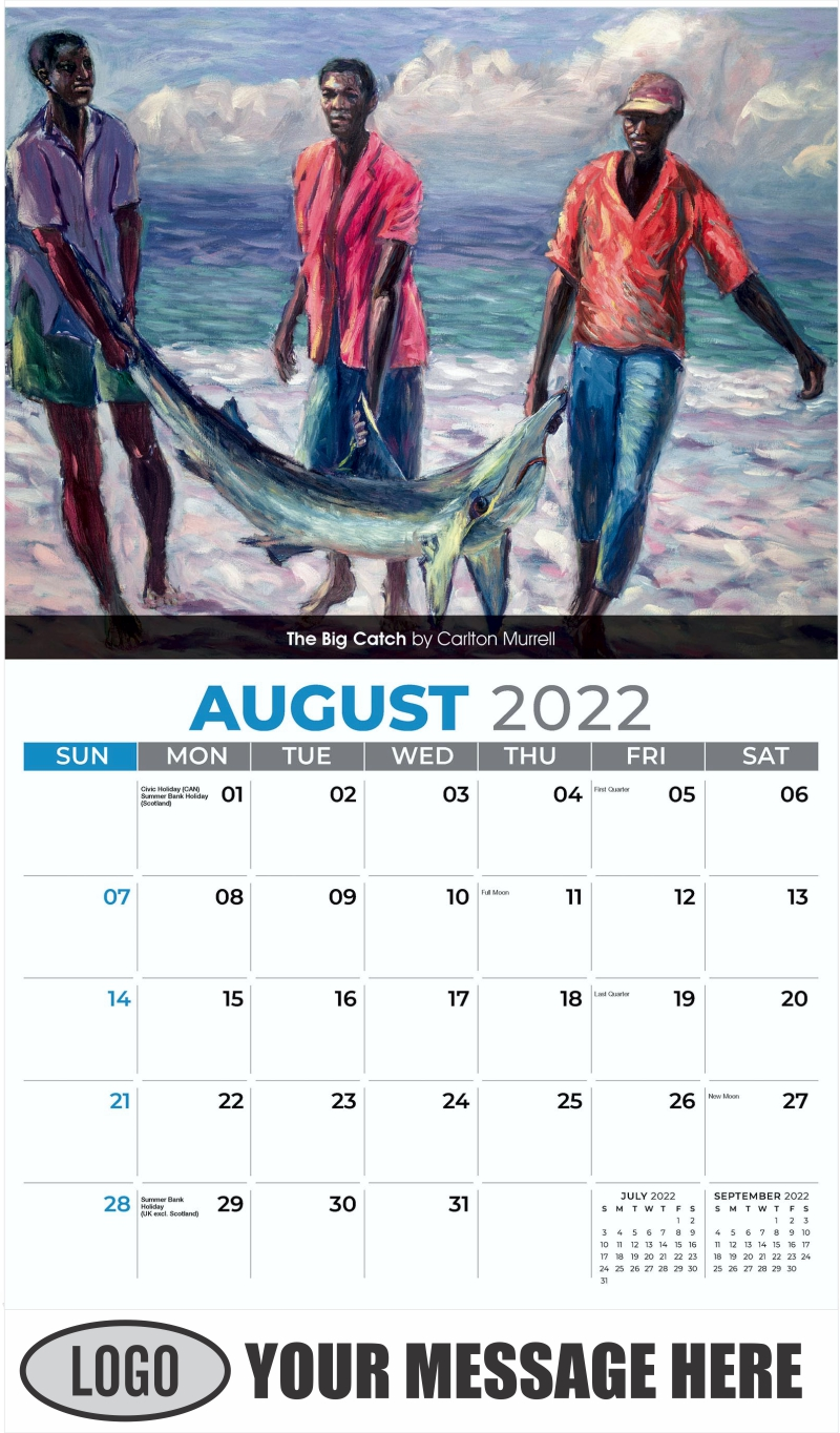 The Big Catch by Carlton Murrell - August - Celebration of African American Art 2022 Promotional Calendar