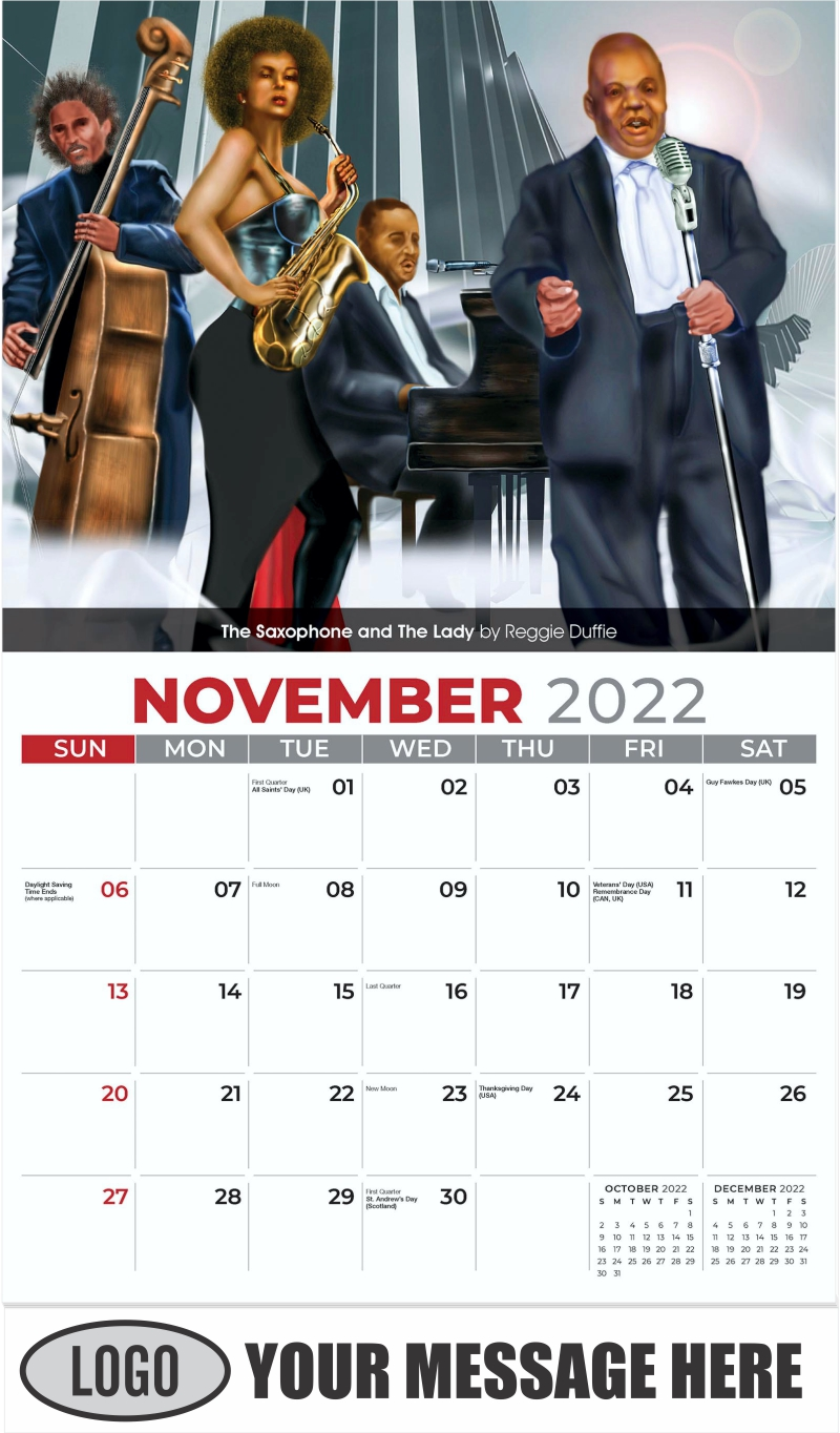 The Saxophone And The Lady by Reggie Duffie - November - Celebration of African American Art 2022 Promotional Calendar