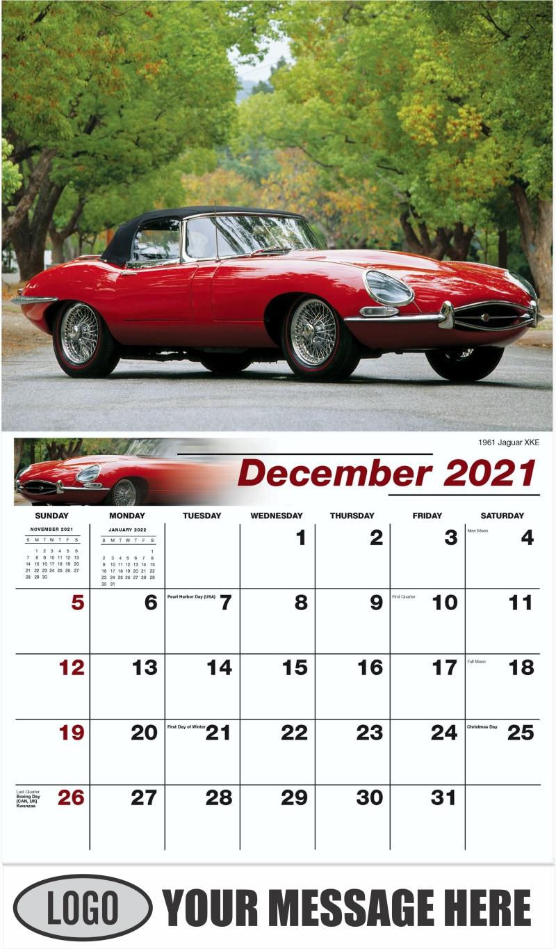 1961 Jaguar XKE - December 2021 - Classic Cars 2022 Promotional Calendar