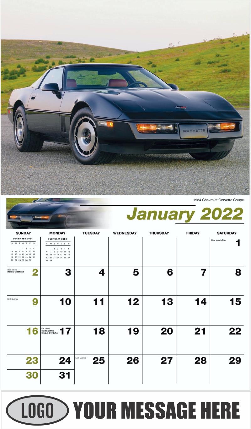 1984 Chevrolet Corvette Coupe - January - Classic Cars 2022 Promotional Calendar