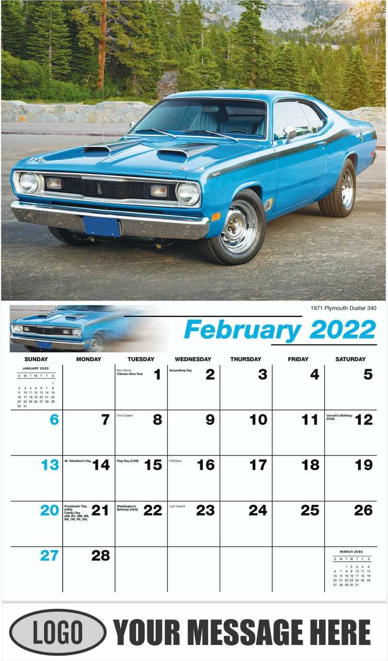 1971 Plymouth Duster 340 - February - Classic Cars 2022 Promotional Calendar