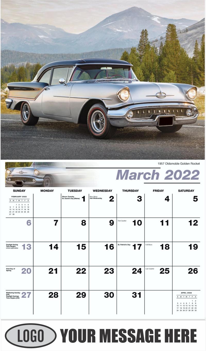 1957 Oldsmoble Golden Rocket - March - Classic Cars 2022 Promotional Calendar