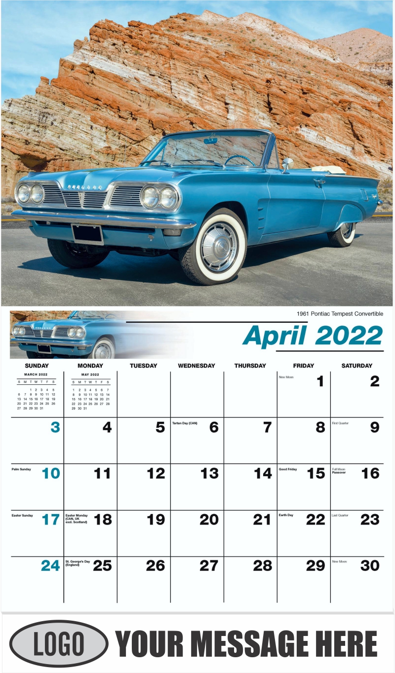 1961 Pontiac Tempest Convertible - April - Classic Cars 2022 Promotional Calendar