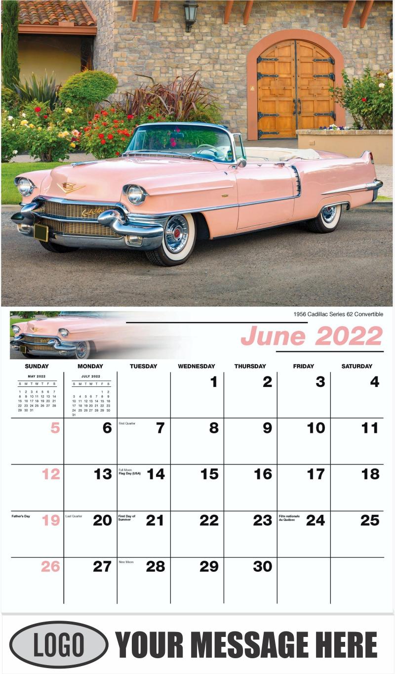 1956 Cadillac Series 62 Convertible - June - Classic Cars 2022 Promotional Calendar
