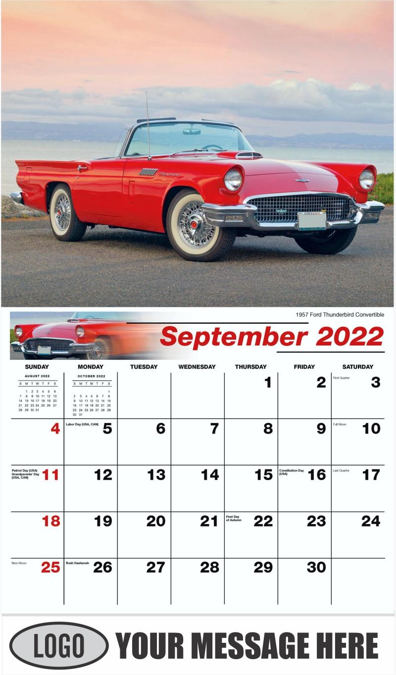 1957 Ford Thunderbird Convertible - September - Classic Cars 2022 Promotional Calendar
