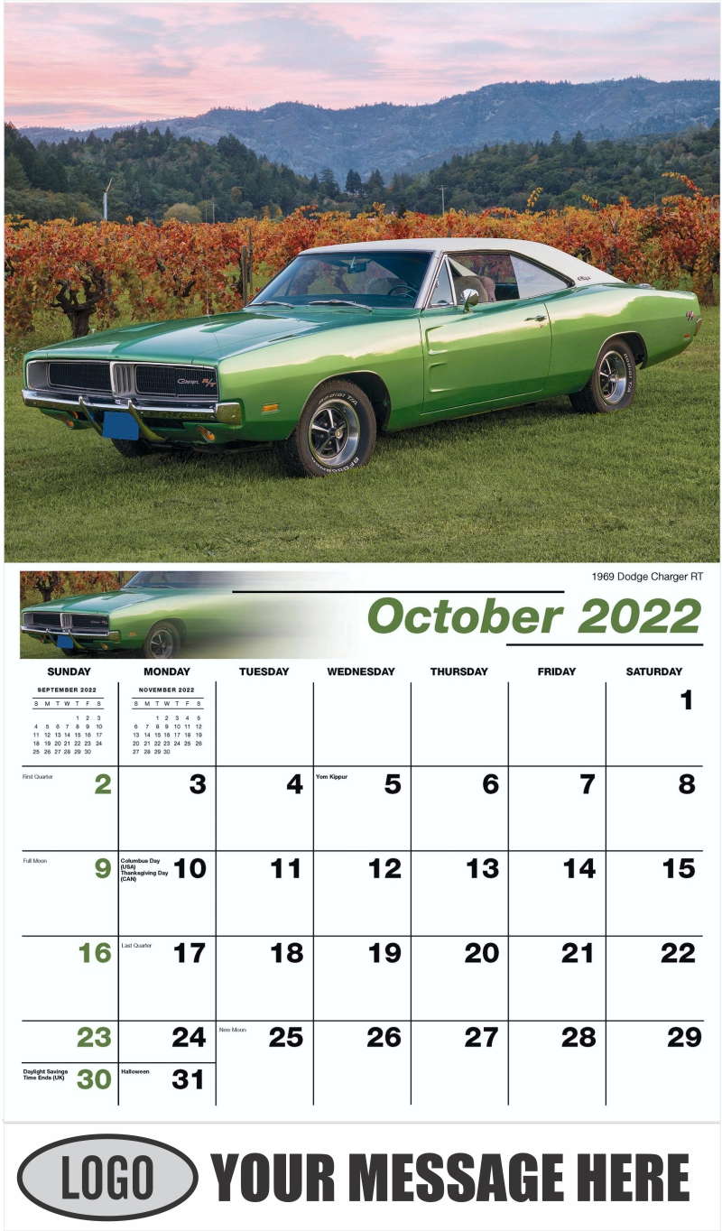 1969 Dodge Charger RT - October - Classic Cars 2022 Promotional Calendar