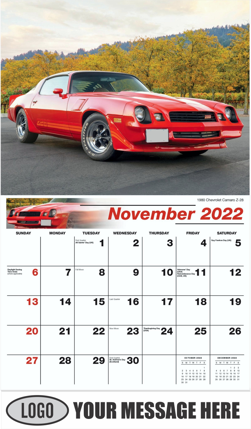 1980 Chevrolet Camaro Z-28 - November - Classic Cars 2022 Promotional Calendar