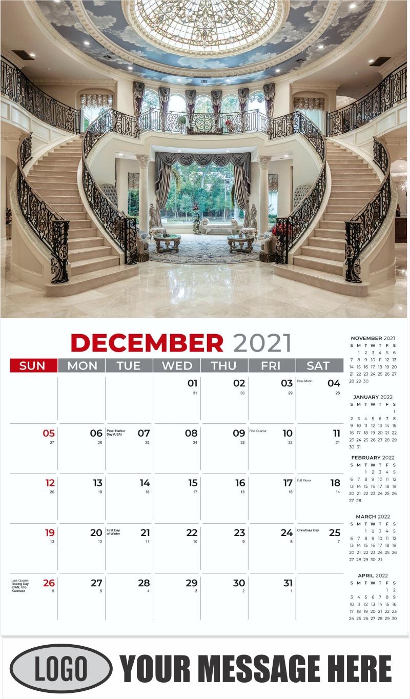 Interior Home Design Inspiration Calendar - December 2021 - Décor & Design 2022 Promotional Calendar