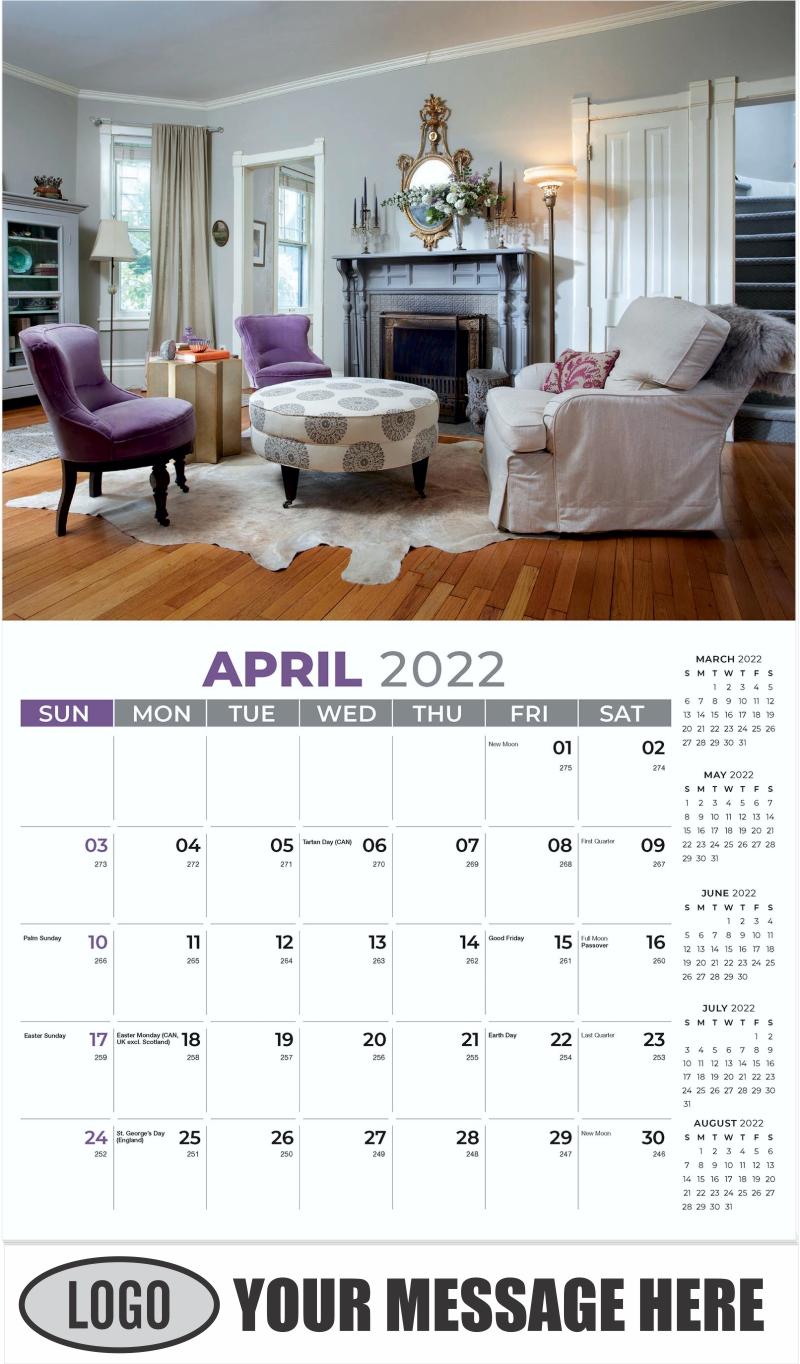 Interior Home Design Inspiration Calendar - April - Décor & Design 2022 Promotional Calendar