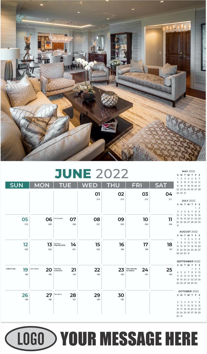 Interior Home Design Inspiration Calendar - June - Décor & Design 2022 Promotional Calendar