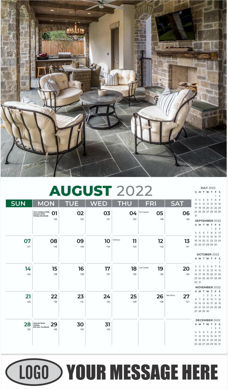 Interior Home Design Inspiration Calendar - August - Décor & Design 2022 Promotional Calendar