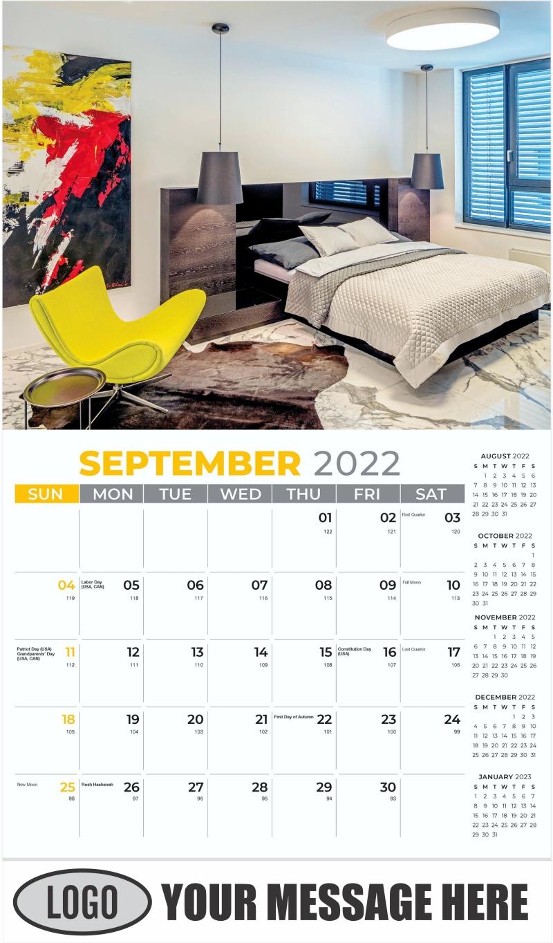 Interior Home Design Inspiration Calendar - September - Décor & Design 2022 Promotional Calendar