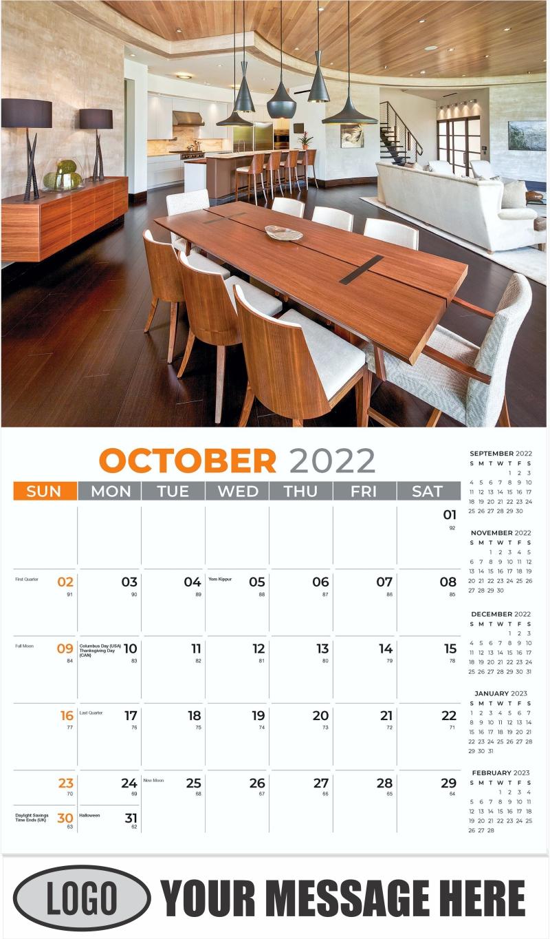 Interior Home Design Inspiration Calendar - October - Décor & Design 2022 Promotional Calendar