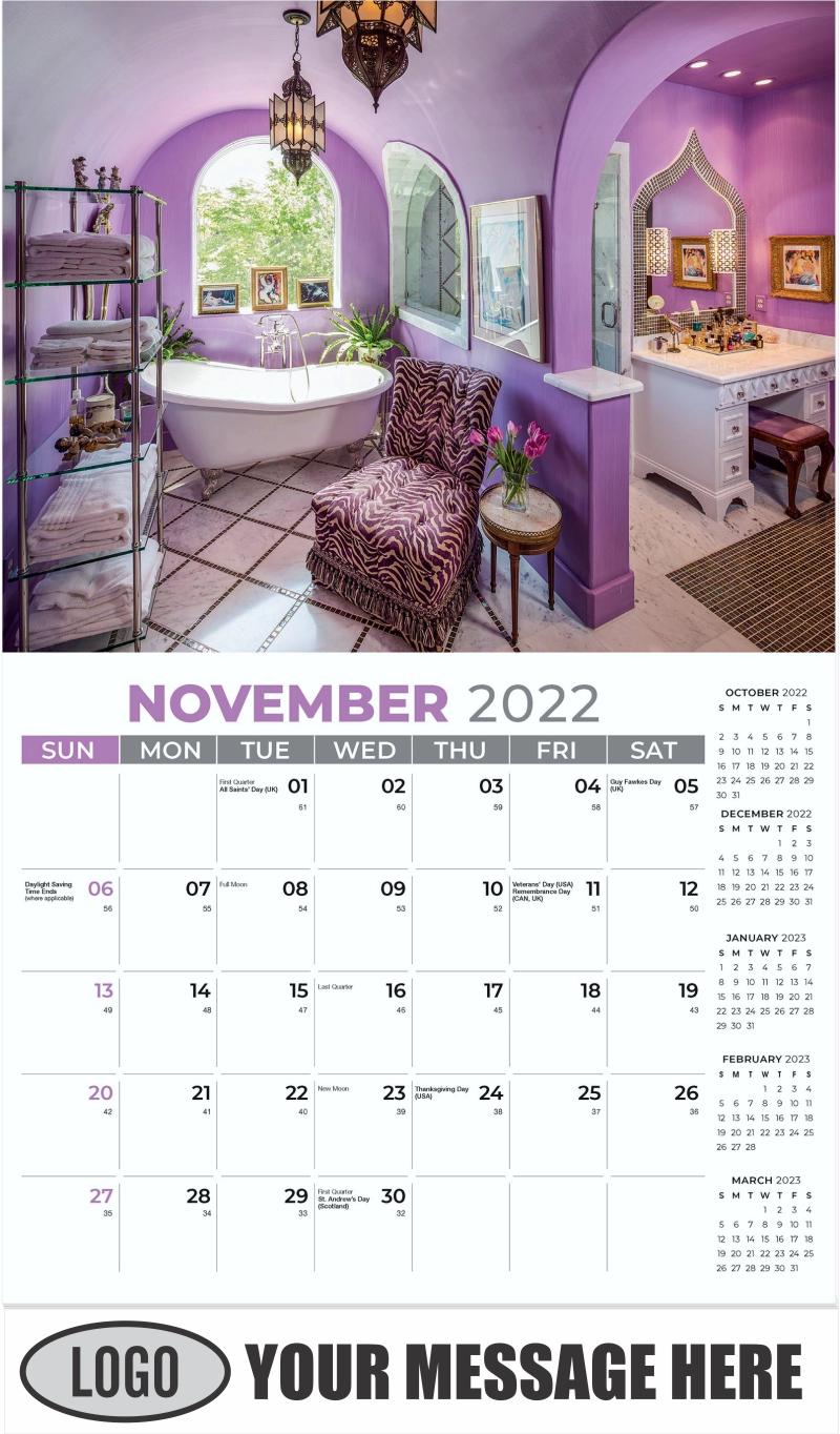 Interior Home Design Inspiration Calendar - November - Décor & Design 2022 Promotional Calendar