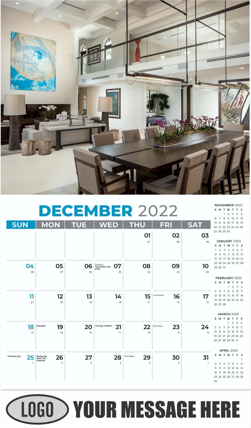 Interior Home Design Inspiration Calendar - December 2022 - Décor & Design 2022 Promotional Calendar