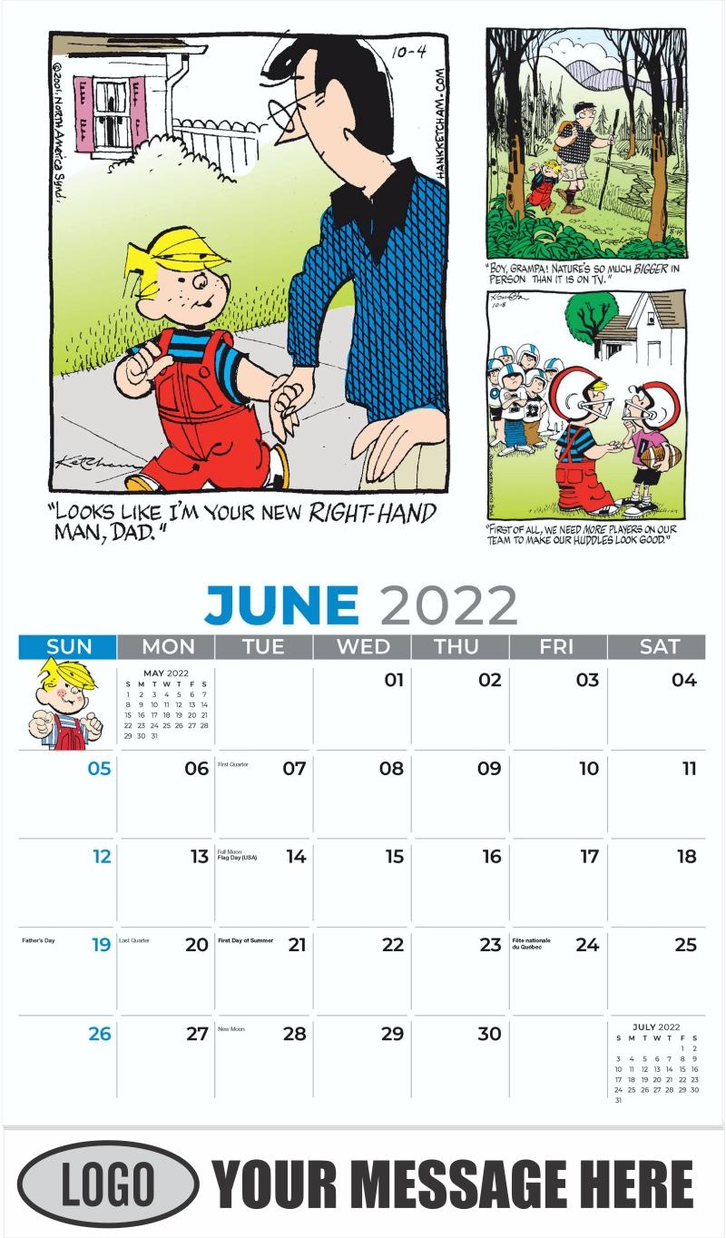 2022 Dennis the Menace Art Calendar - June - Dennis the Menace 2022 Promotional Calendar