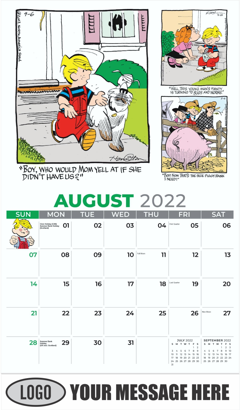 2022 Dennis the Menace Art Calendar - August - Dennis the Menace 2022 Promotional Calendar