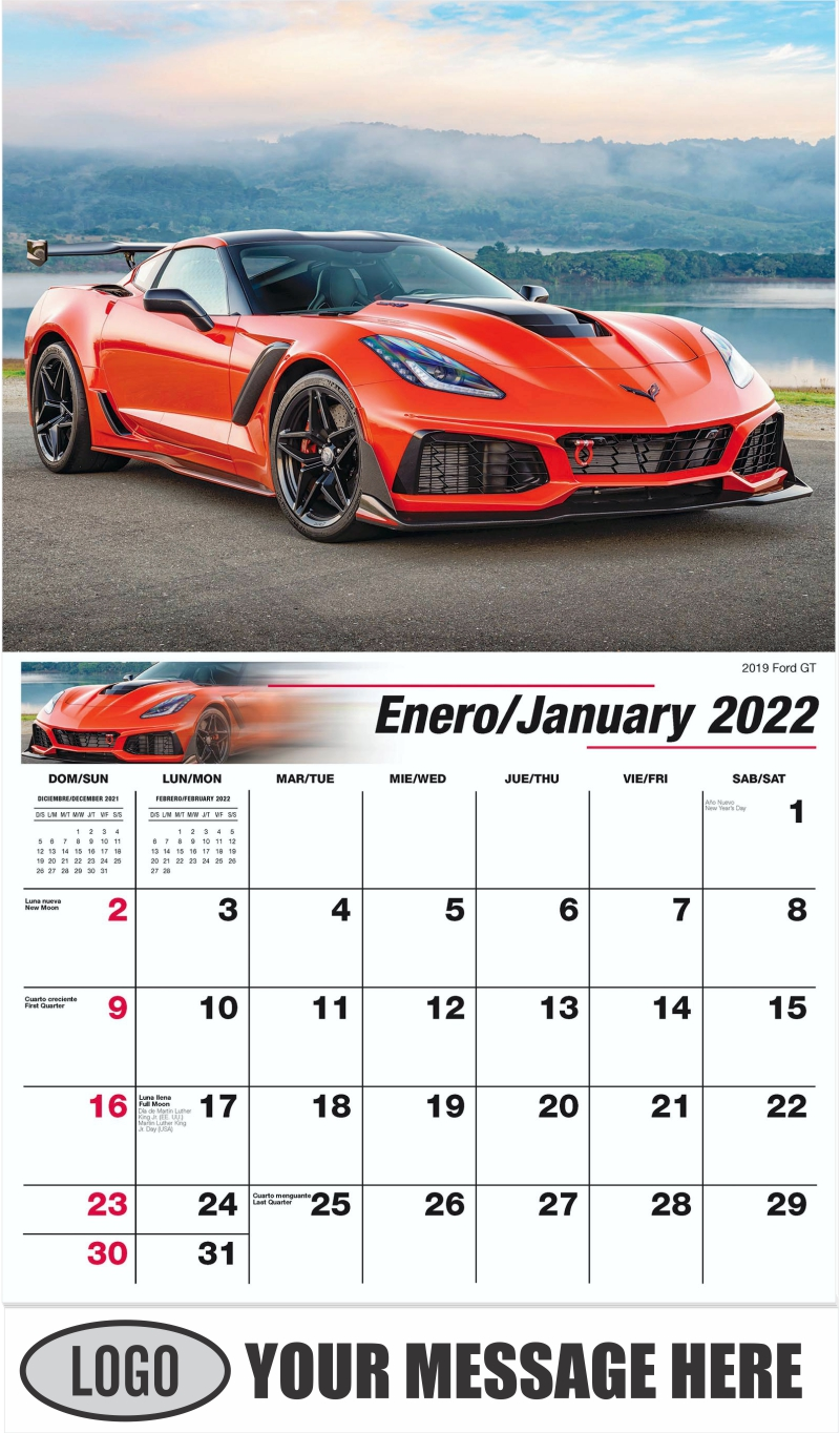 2019 Ford GT - January - Exotic Cars (Spanish-English bilingual) 2022 Promotional Calendar