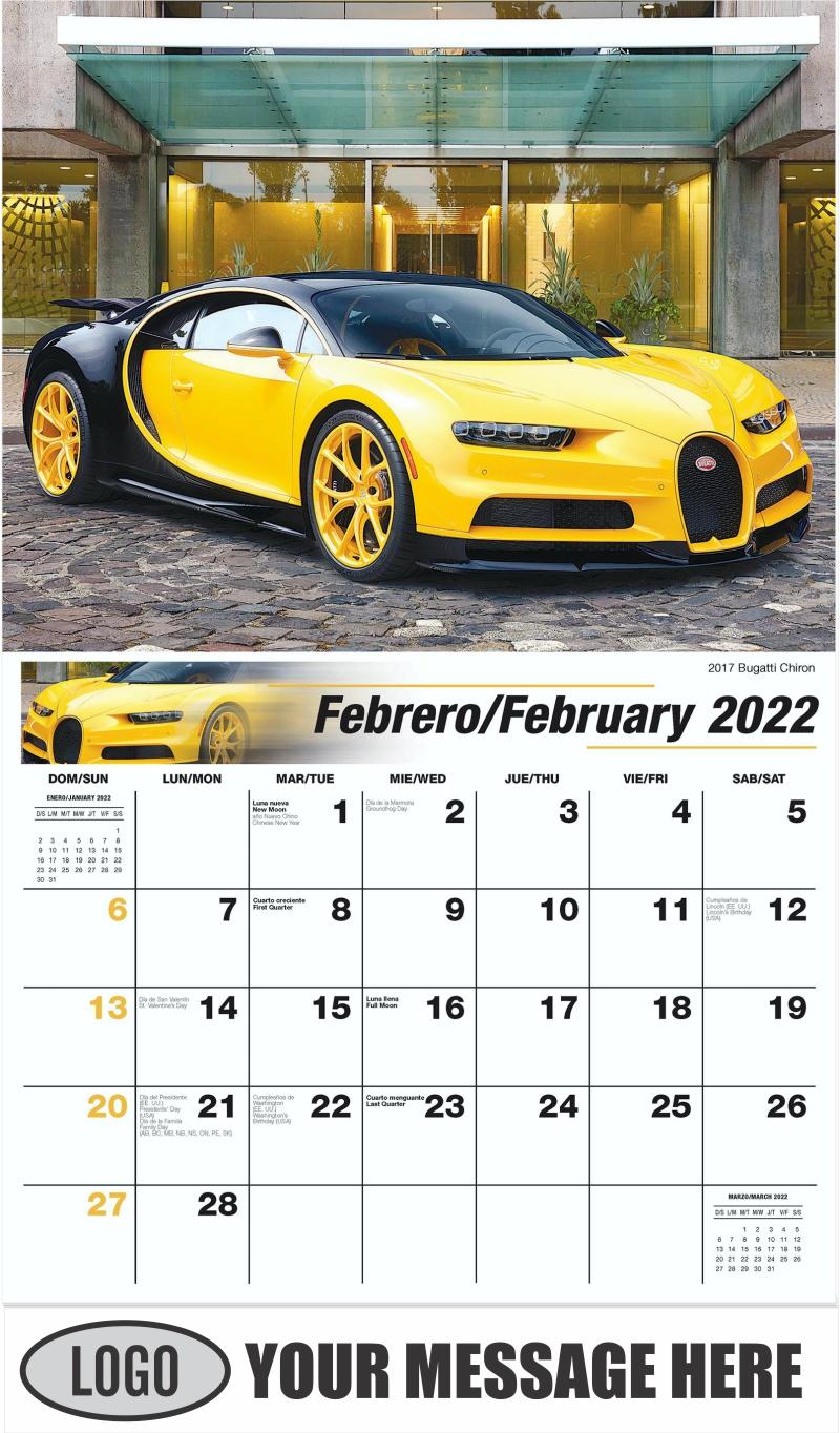 2017 Bugatti Chiron - February - Exotic Cars (Spanish-English bilingual) 2022 Promotional Calendar