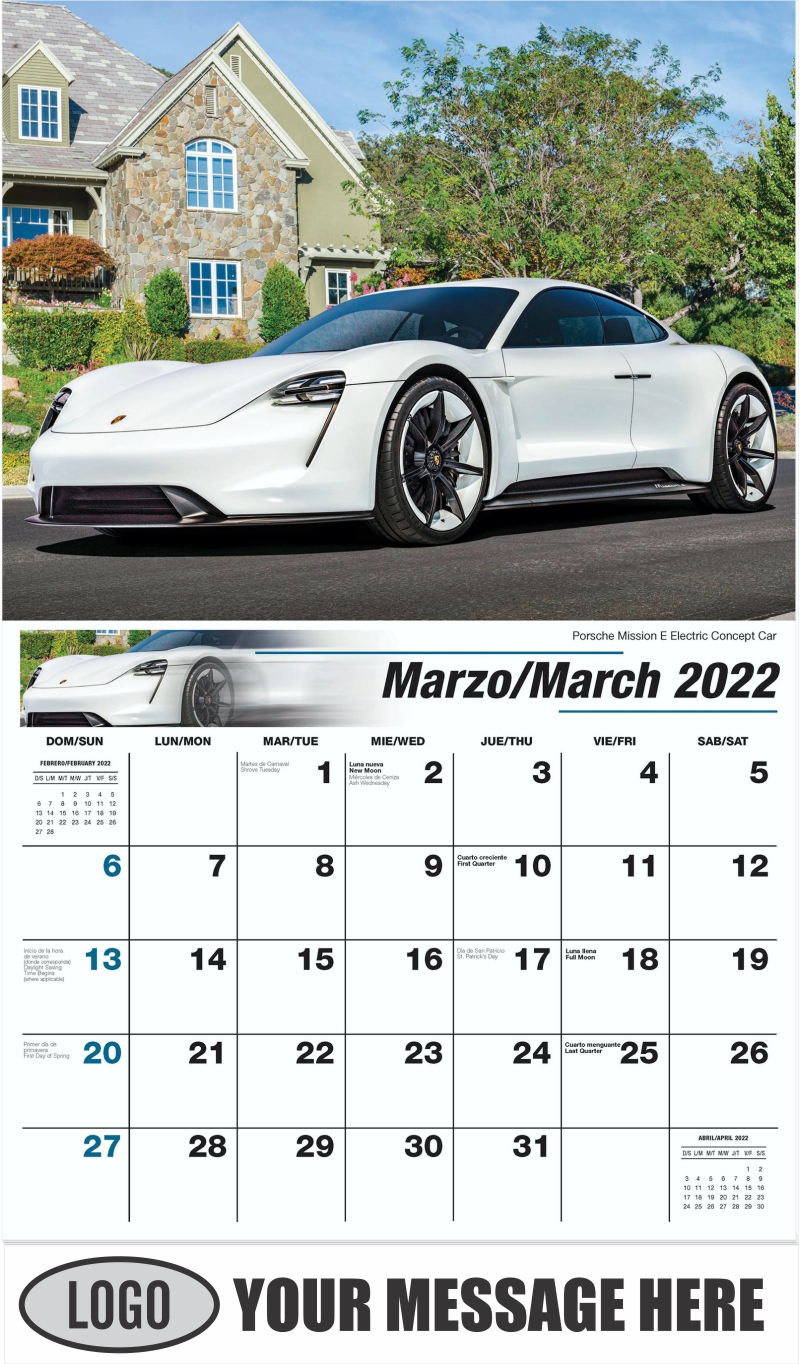 Porsche Mission E Electric Concept Car - March - Exotic Cars (Spanish-English bilingual) 2022 Promotional Calendar