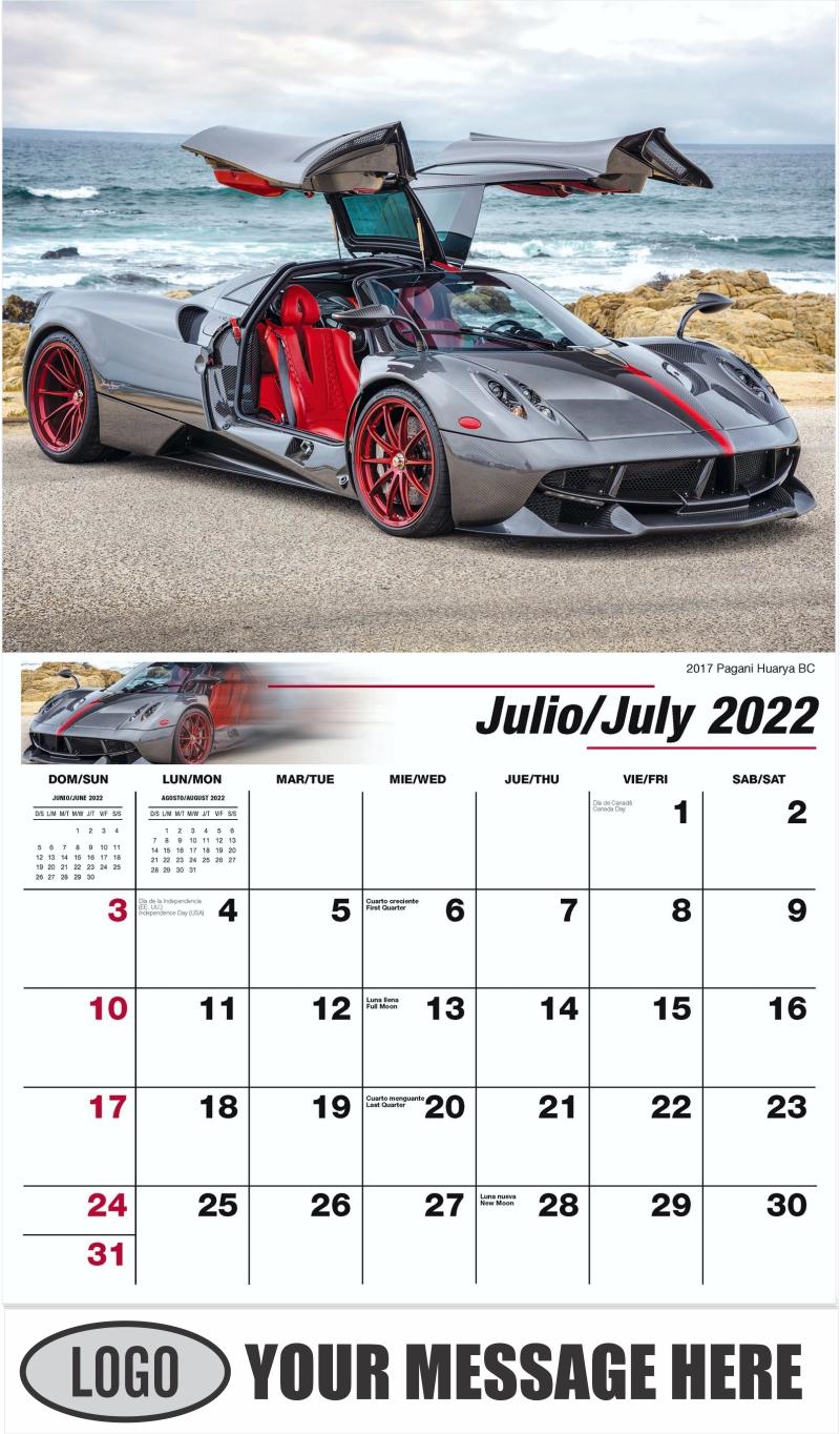 2017 Pagani Huarya BC - July - Exotic Cars (Spanish-English bilingual) 2022 Promotional Calendar