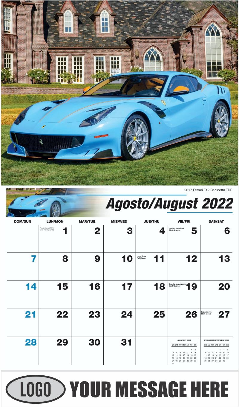 2017 Ferrari F12 Berlinetta TDF - August - Exotic Cars (Spanish-English bilingual) 2022 Promotional Calendar