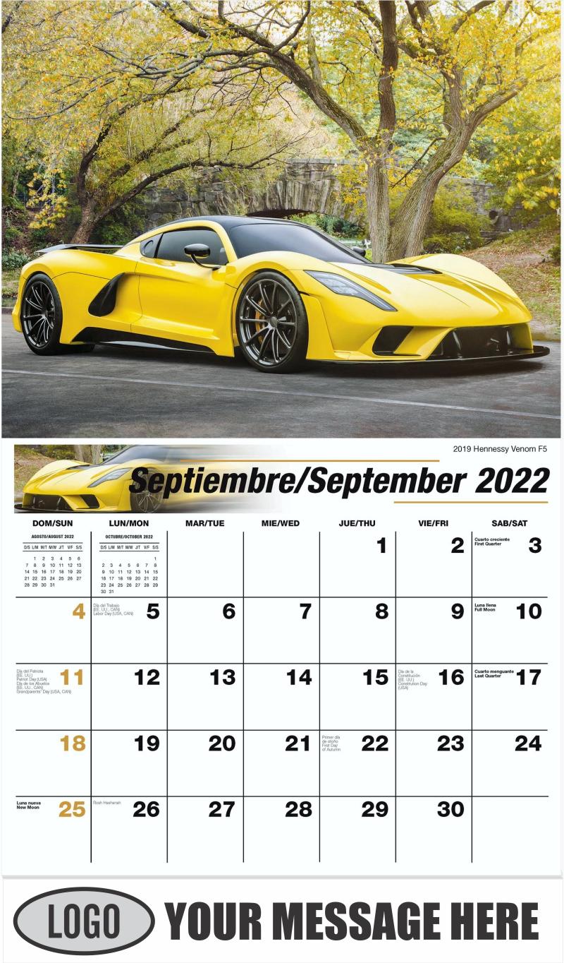 2019 Hennessy Venom F5 - September - Exotic Cars (Spanish-English bilingual) 2022 Promotional Calendar