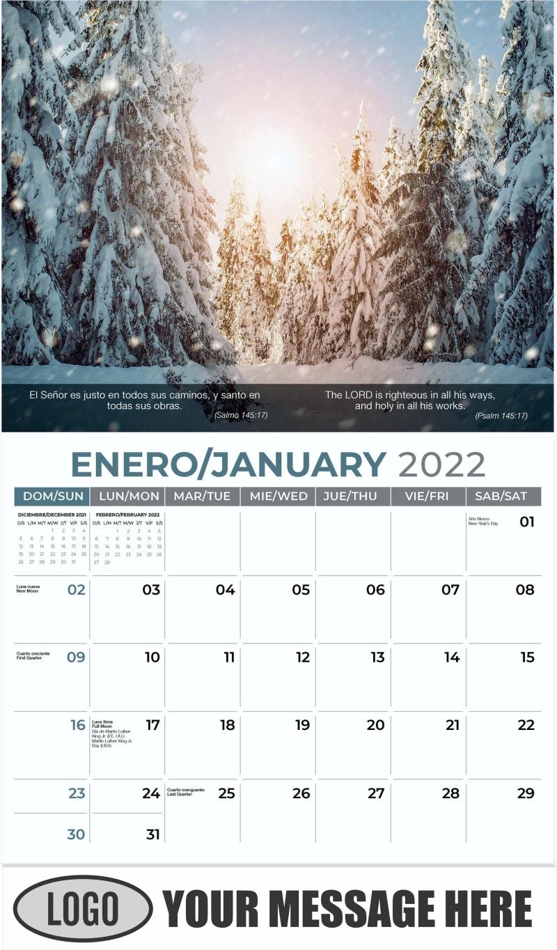 Beautiful winter snowy landscape - January - Faith-Passages-Eng-Sp 2022 Promotional Calendar