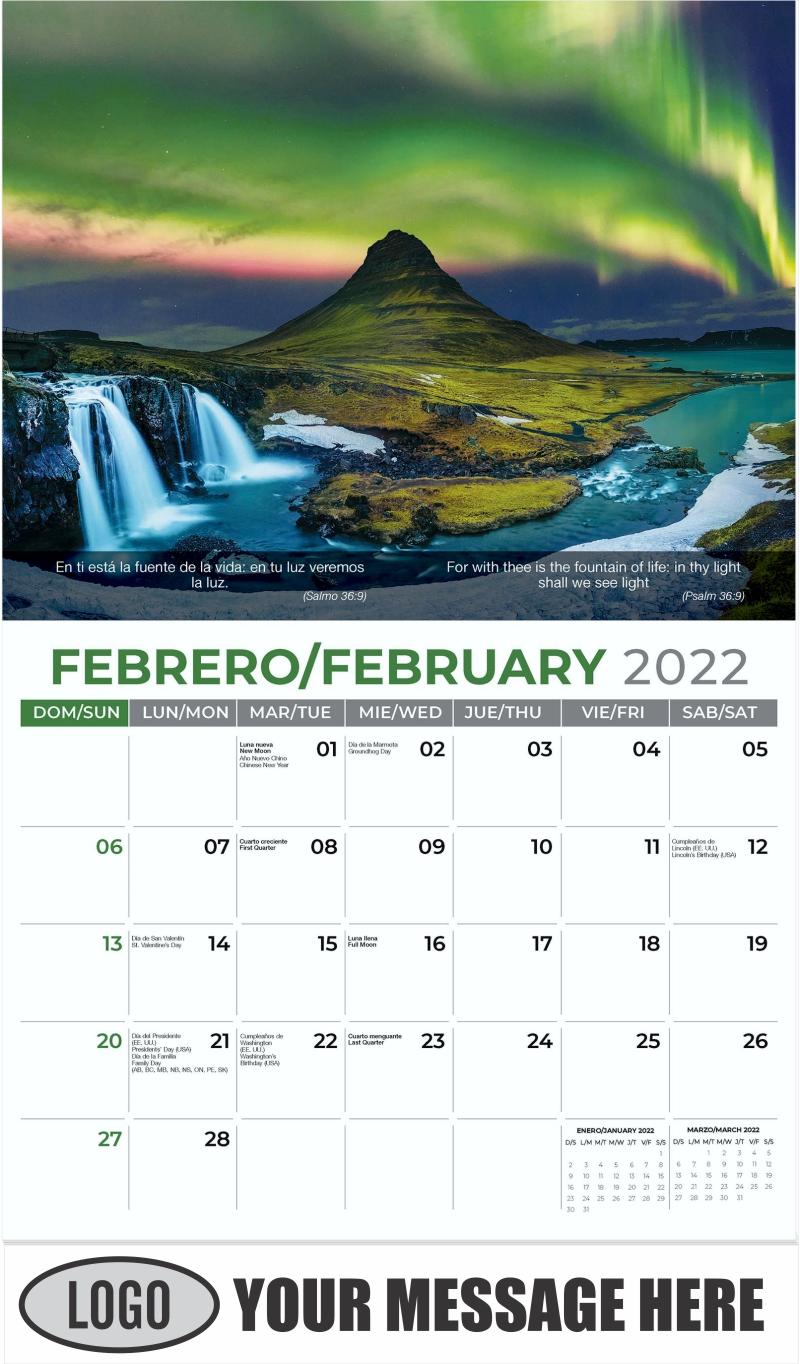 Northern Light, Iceland - February - Faith-Passages-Eng-Sp 2022 Promotional Calendar