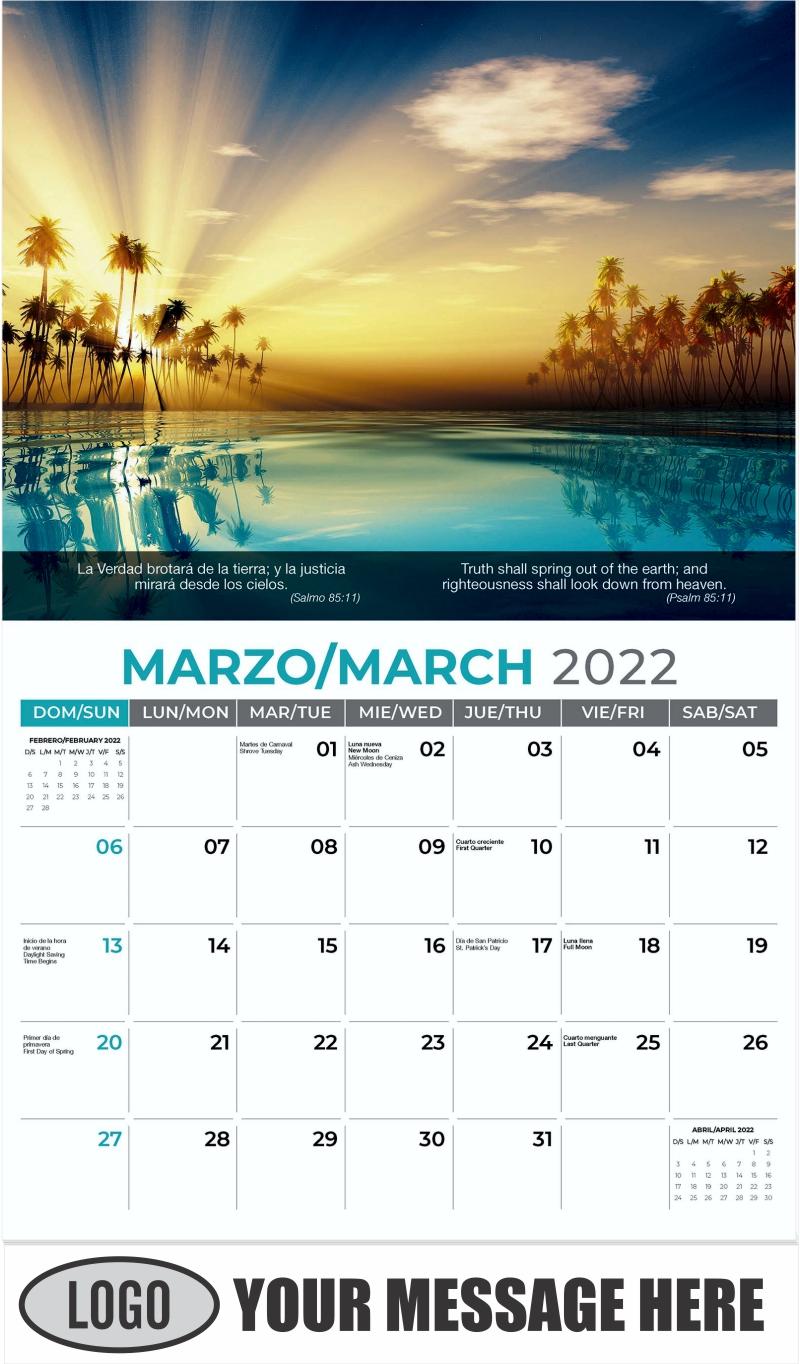 Sun Rays Inside Coconut Palms - March - Faith-Passages-Eng-Sp 2022 Promotional Calendar