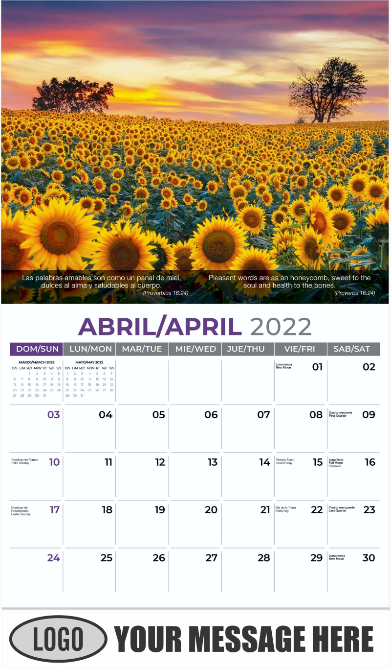 Blooming Sunflower Field - April - Faith-Passages-Eng-Sp 2022 Promotional Calendar