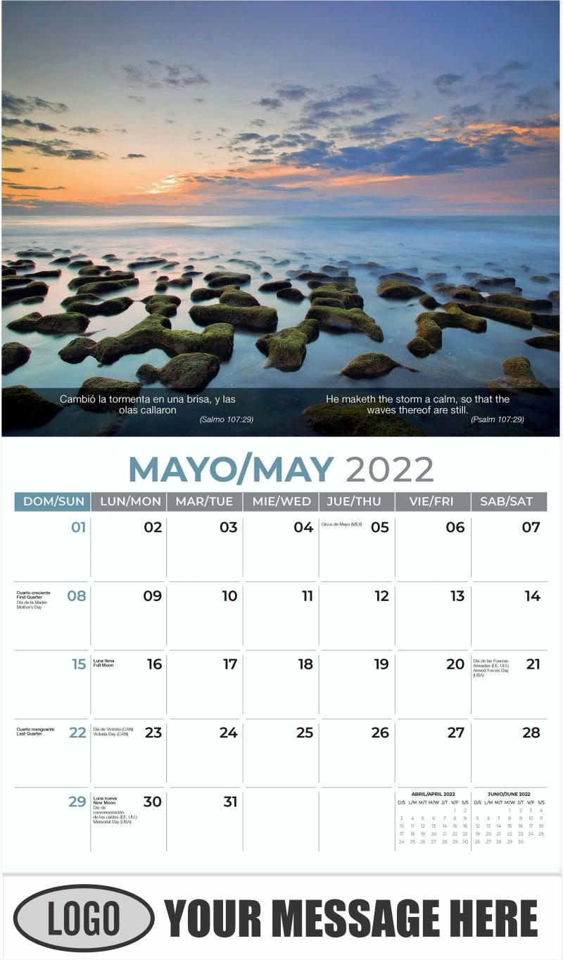 Cool Florida Beach Morning at Rocks - May - Faith-Passages-Eng-Sp 2022 Promotional Calendar