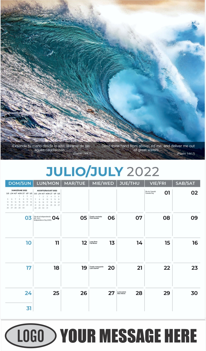 Big wave breaking at sunset - July - Faith-Passages-Eng-Sp 2022 Promotional Calendar