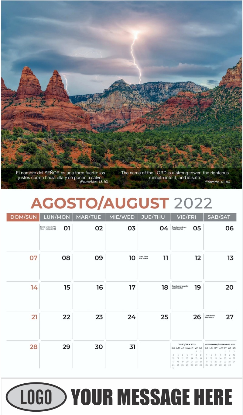 A monsoon storm rages over Munds Mountain in Sedona, Arizona - August - Faith-Passages-Eng-Sp 2022 Promotional Calendar
