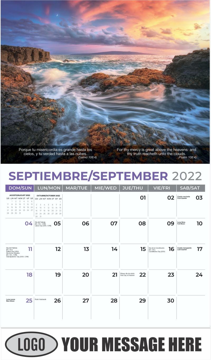 Seascape under a Hawaiian sunset, Maui - September - Faith-Passages-Eng-Sp 2022 Promotional Calendar
