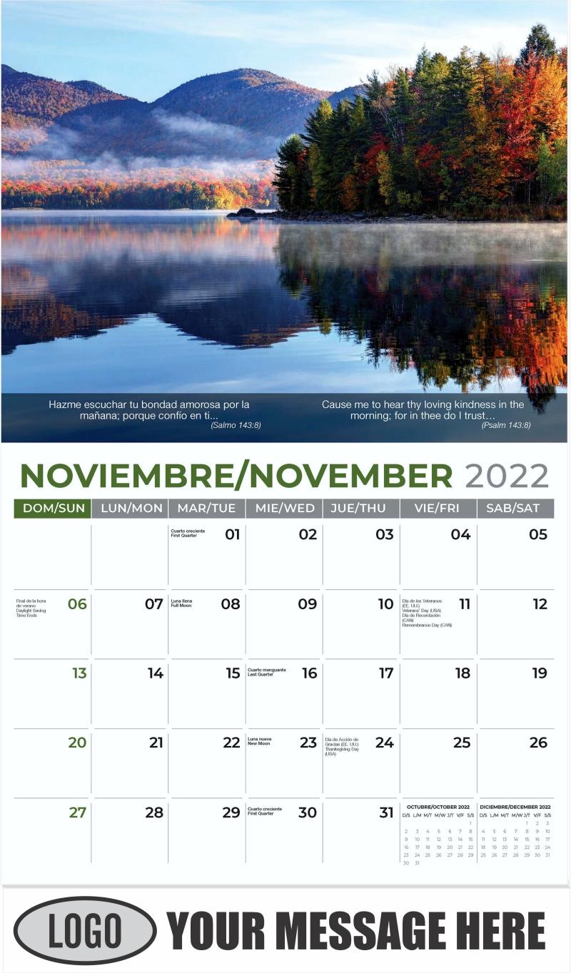 Autumn Reflection in Scenic Vermont - November - Faith-Passages-Eng-Sp 2022 Promotional Calendar