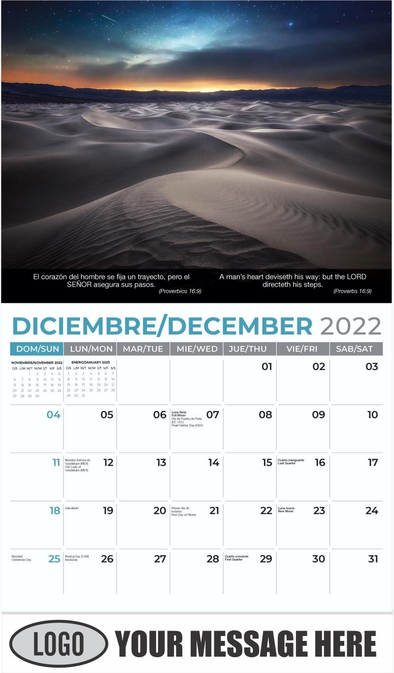 Mesquite Flat Sand Dunes, Death Valley National Park - December 2022 - Faith-Passages-Eng-Sp 2022 Promotional Calendar