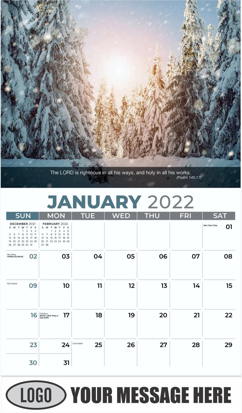 Beautiful winter snowy landscape - January - Faith Passages 2022 Promotional Calendar