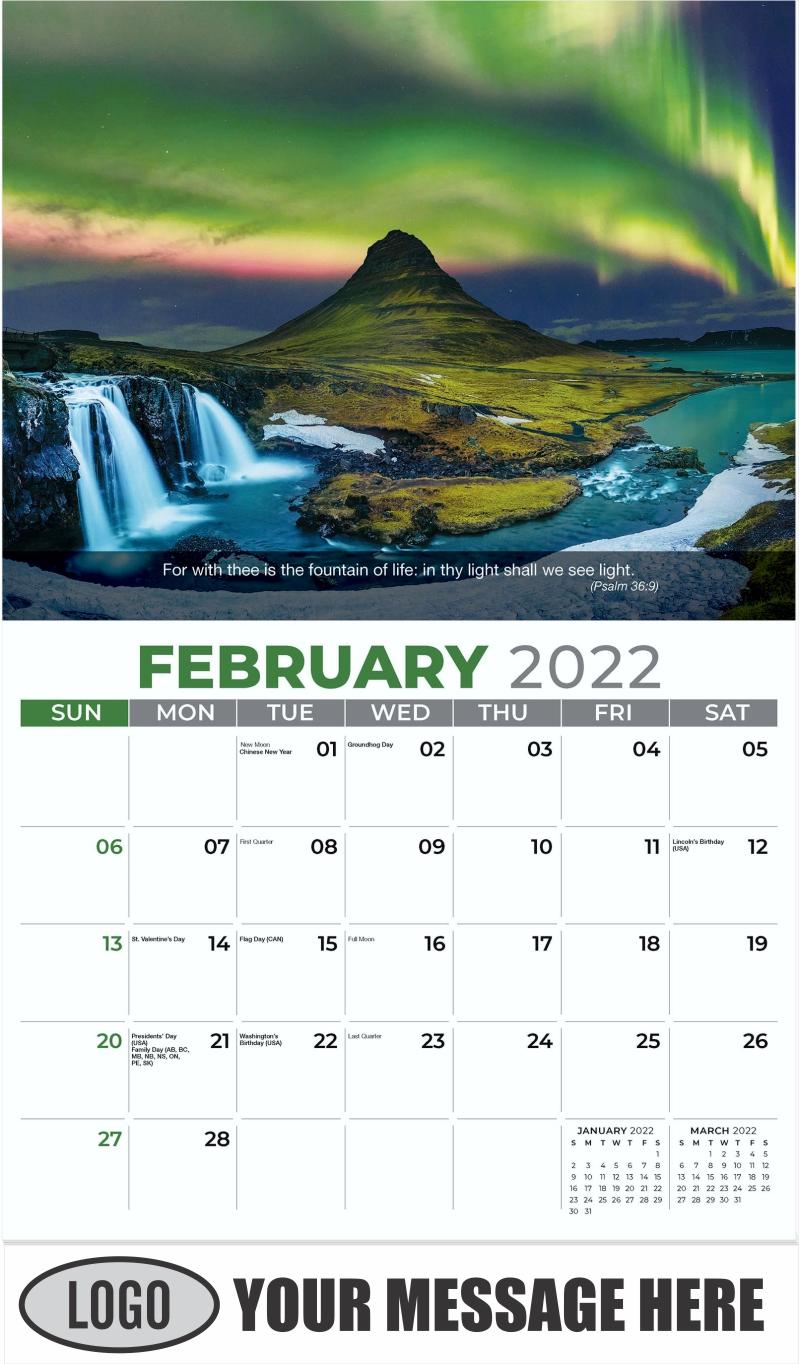 Northern Light, Iceland - February - Faith Passages 2022 Promotional Calendar
