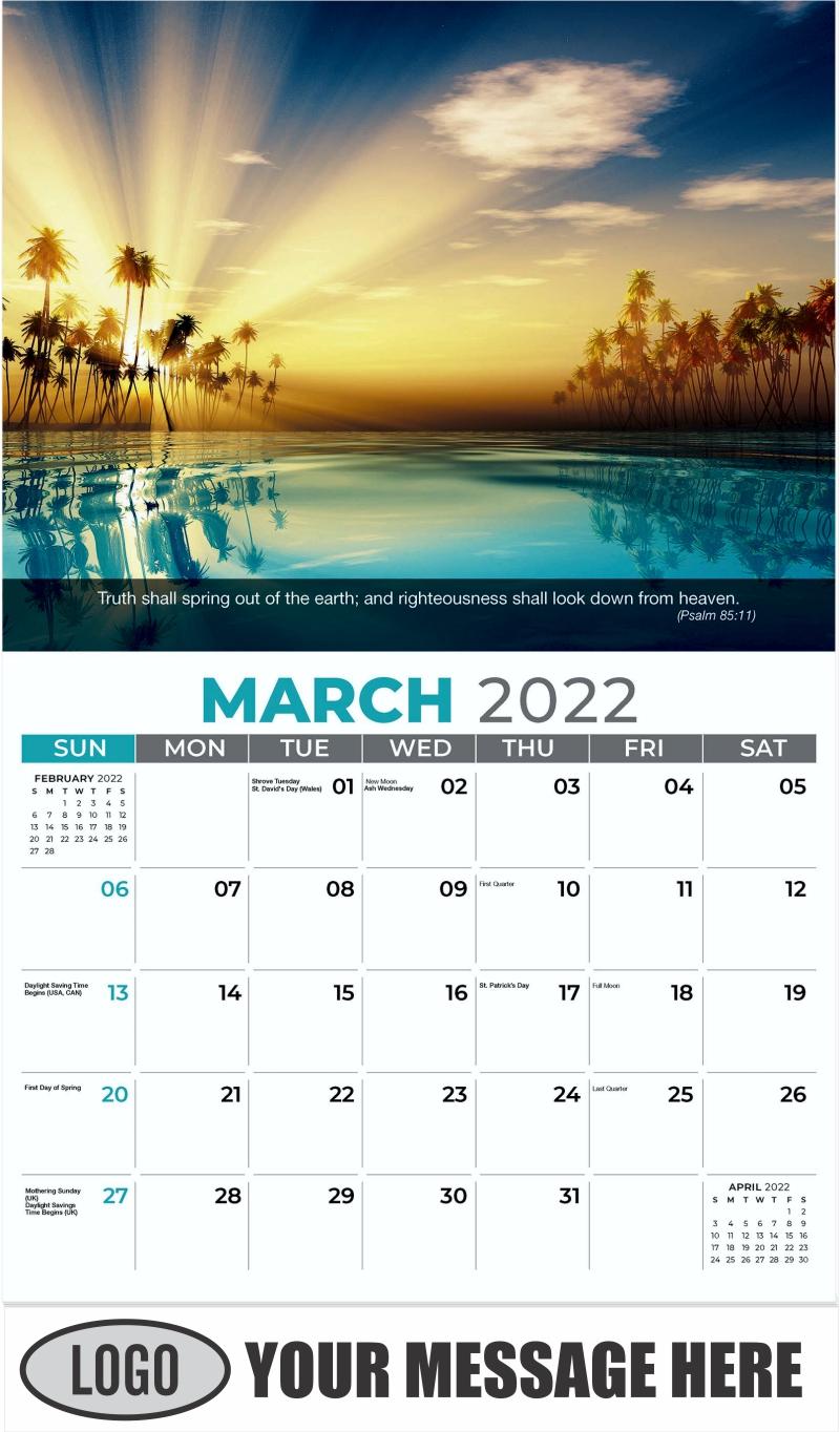 Sun Rays Inside Coconut Palms - March - Faith Passages 2022 Promotional Calendar