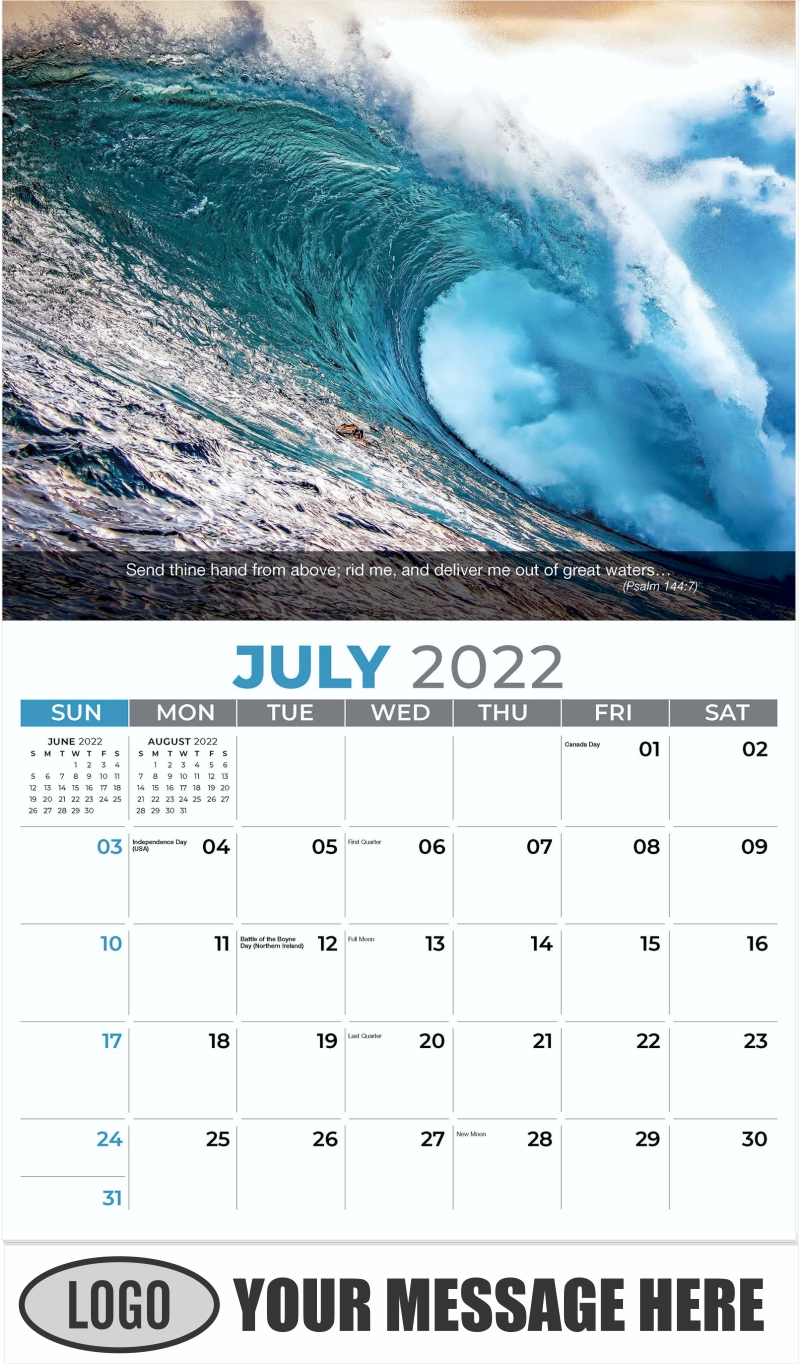 Big wave breaking at sunset - July - Faith Passages 2022 Promotional Calendar