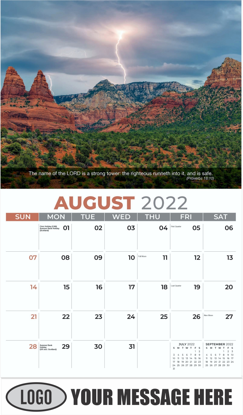 A monsoon storm rages over Munds Mountain in Sedona, Arizona - August - Faith Passages 2022 Promotional Calendar