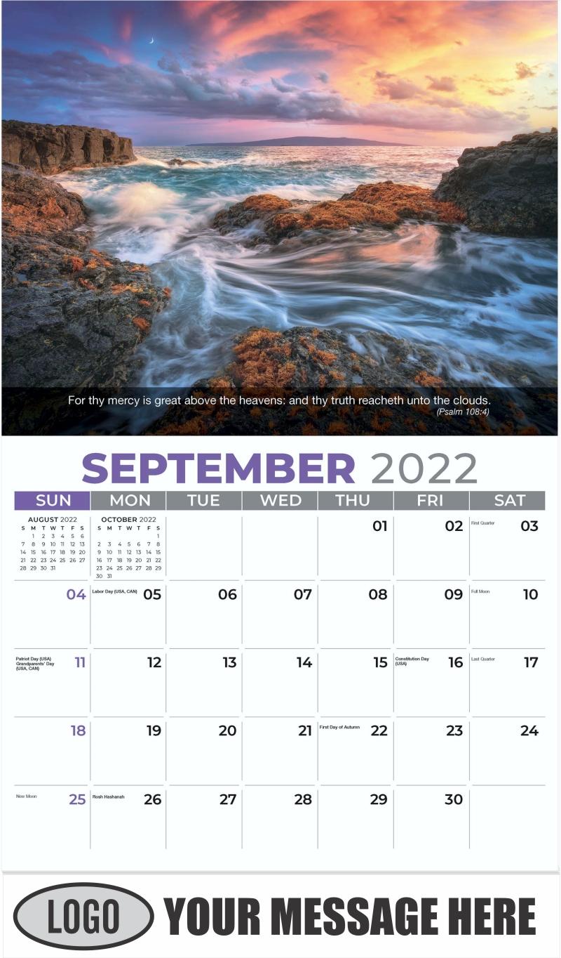 Seascape under a Hawaiian sunset, Maui - September - Faith Passages 2022 Promotional Calendar