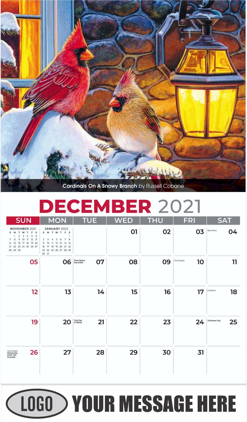 Cardinals on a Snowy Branch by Russell Cobane - December 2021 - Garden Birds 2022 Promotional Calendar
