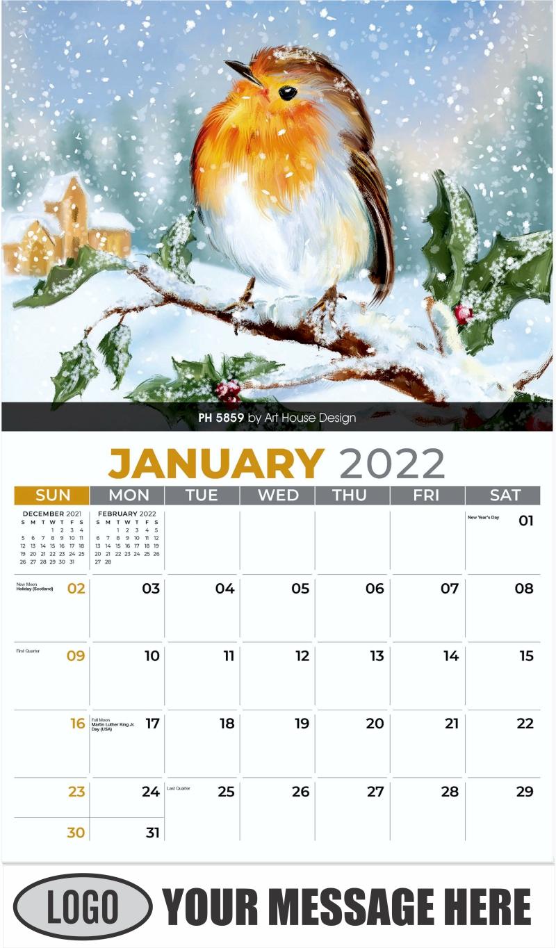 PH 5859 by Art House Design - January - Garden Birds 2022 Promotional Calendar