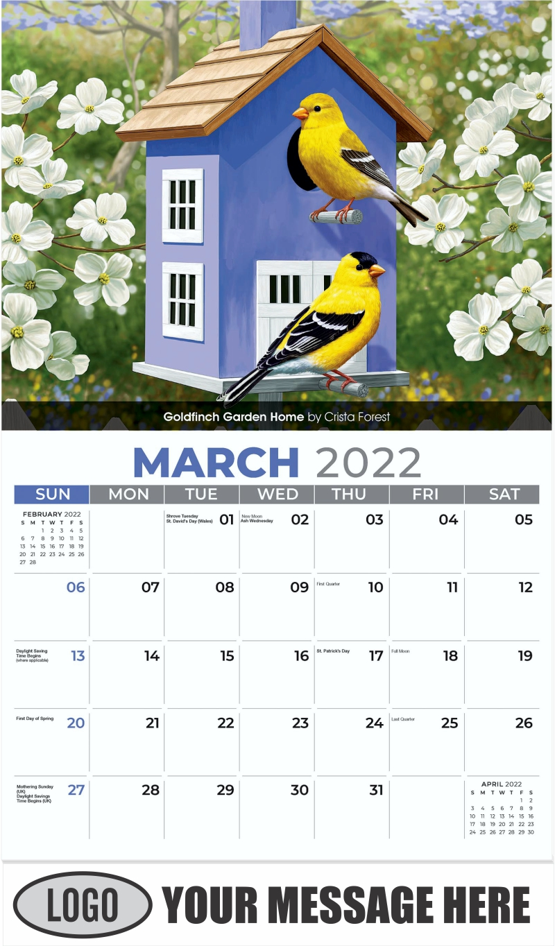 Goldfinch Garden Home by Crista Forest - March - Garden Birds 2022 Promotional Calendar