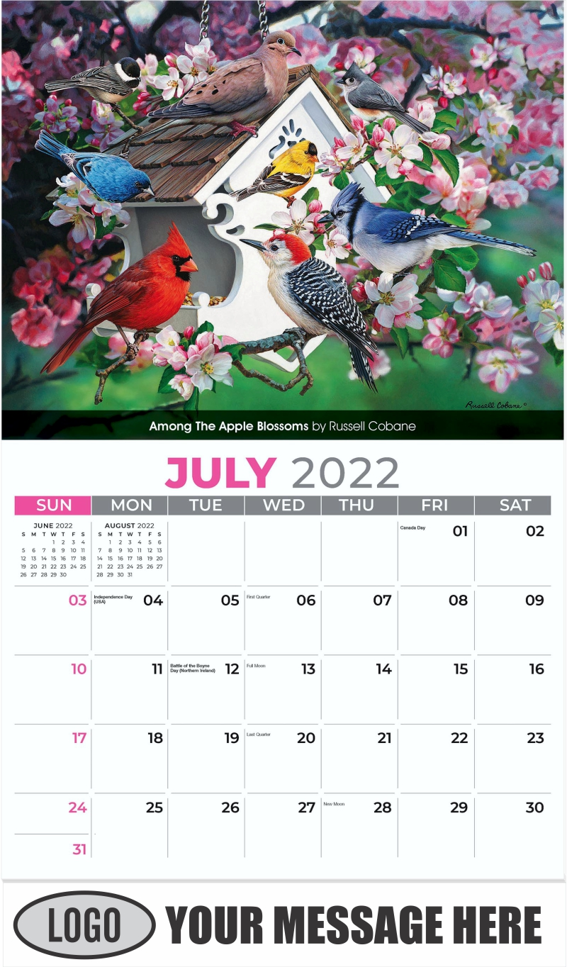 Among the Apple Blossoms by Russell Cobane - July - Garden Birds 2022 Promotional Calendar