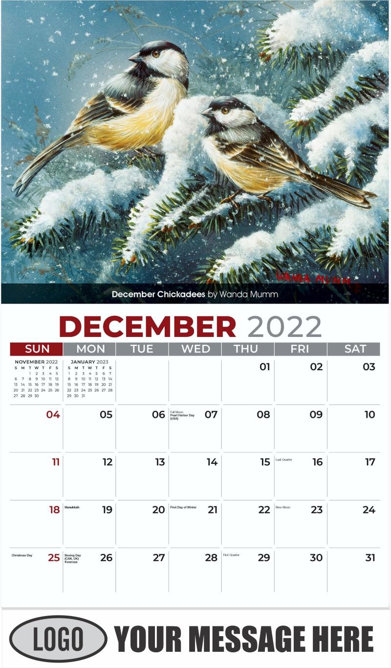 December Chickadees by Wanda Mumm - December 2022 - Garden Birds 2022 Promotional Calendar