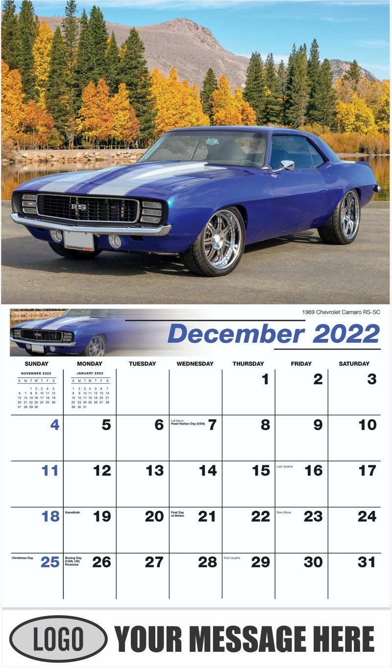 1969 Chevrolet Camaro RS-SC - December 2022 - GM Classics 2022 Promotional Calendar