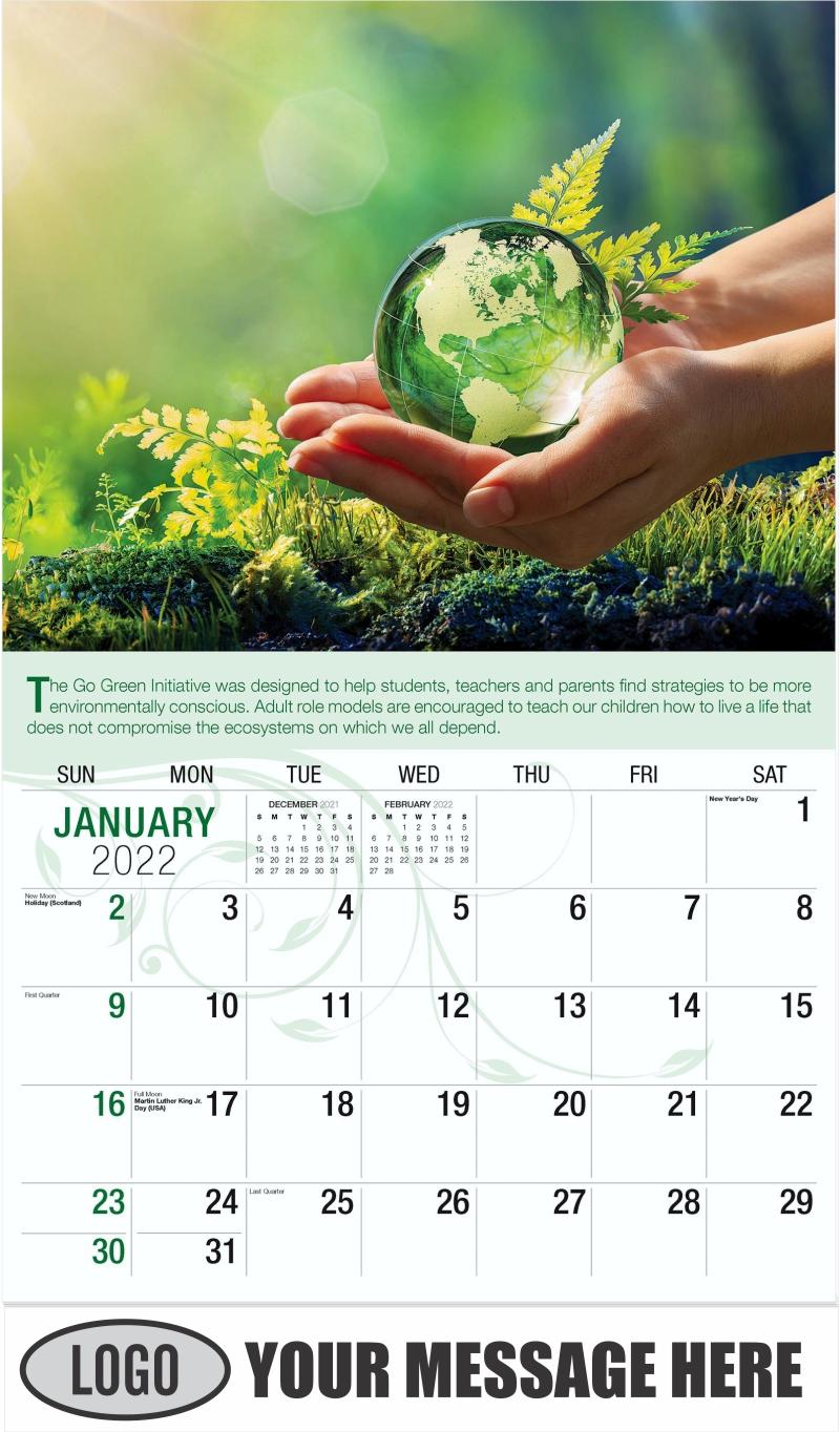 Hands Holding Globe Glass - January - Go Green 2022 Promotional Calendar
